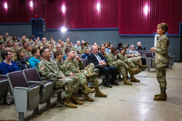 Lt. Gen. Nadja West, U.S. Army surgeon general and commander of Army Medical Command, speaks at Fort Campbell's Wilson Theater during one of two town halls Oct. 30, 2018.
