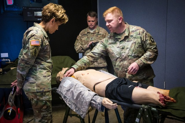 Lt. Gen. Nadja West, U.S. Army surgeon general and commander of Army Medical Command, views training and demonstrations at Fort Campbell's Rascon School of Combat Medicine, Oct. 30, 2018.