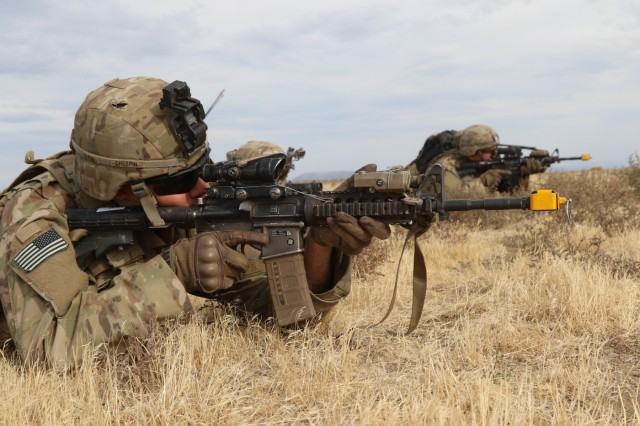 During a Combined Arms Maneuver Live Fire Exercise at Yakima Training Center, Wash, Soldiers from 2nd Battalion, 1st Infantry Regiment, 2nd Stryker Brigade Combat Team, 2nd Infantry Division establish security, Oct. 3, 2018. The U.S. Army is ready to fight tonight.