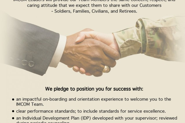 The Installation Management Command Leadership Pledge on display at U.S. Army Garrison Japan serves as a visual reminder of the Garrison leadership's support of the IMCOM Service Culture Campaign, launched as an initiative in 2017 to drive a culture of service excellence. (U.S. Army graphic)