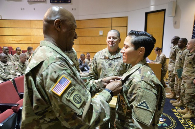 Staff Sgt. Vanessa Carrillo from 7th Army Noncommissioned Officer Academy was selected as the Basic Leader Course Facilitator of the Year in a new competition hosted by the NCO Leadership Center of Excellence at Fort Bliss, Texas, Oct. 15. (Photo by Spc. James C. Seals, NCOL CoE Public Affairs)
