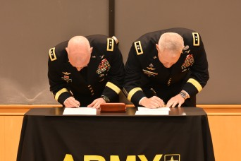 The U.S. Army Recruiting Command and U.S. Army Cadet Command signed a memorandum of understanding