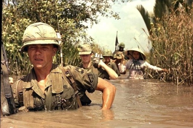 Pfc. Fred. L. Greenleaf leads from the front at Cat Lai, South Vietnam in 1967.