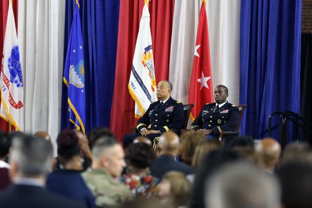 Maj. Gen. William J. Walker is host to Lt. Col. Earl G. Matthews' ceremony