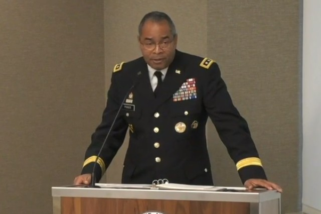 Lt. Gen. Aundre Piggee, deputy chief of staff, G-4 logistics, speaks at the Association of the United States Army's Institute of Land Warfare breakfast in Arlington, Va., Nov. 6, 2018. The general outlined several priorities for Army logisticians, including additive manufacturing and utilizing 3D printing capabilities in the field to create repair parts.