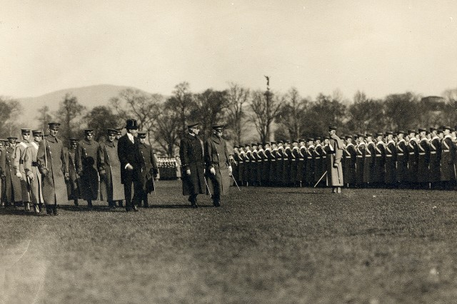 Assistant Secretary of War Benedict Crowell and U.S. Military Academy officials review cadets. Originally the class of 1920, this class was graduated early due to World War I.