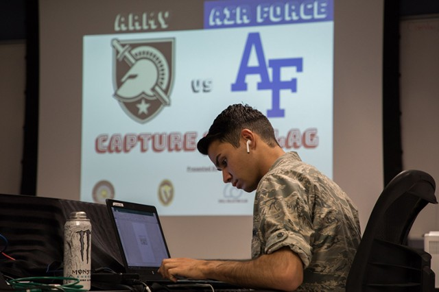 A member of the U.S. Air Force Academy Cyber Team performs his duties during the Capture the Flag Cyber Competition Nov. 2 in Thayer Hall.