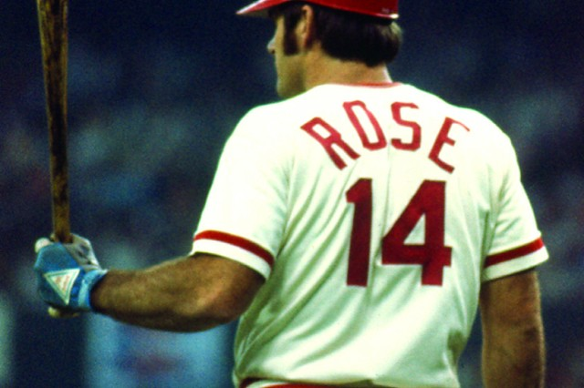 Cincinnati Reds second baseman Pete Rose prepares for one of his historic base hits during a game.