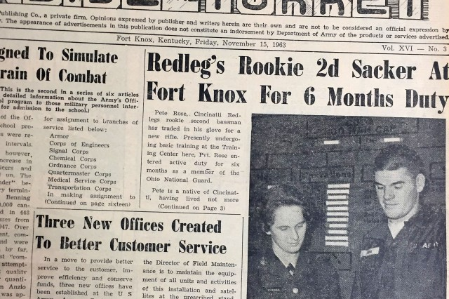 """Pete Rose reunites with a school friend at Fort Knox while attending basic training in 1963. The picture ran in the Nov. 15, 1963 edition of """"Inside the Turret."""""""