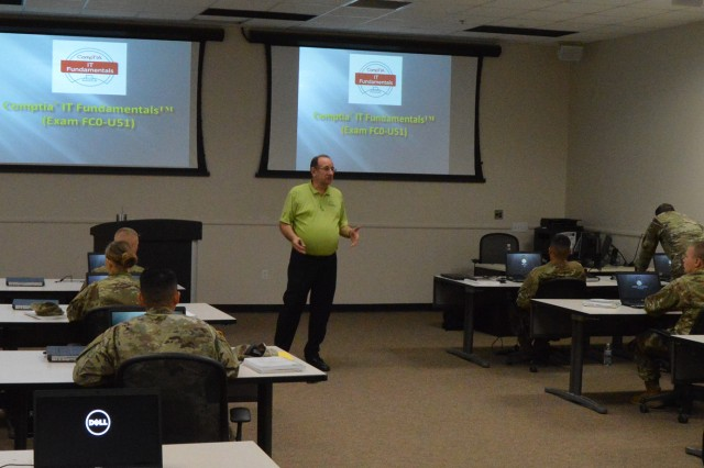 Soldiers take a class at the Computer Technology Industry Association information technology fundamentals course, Oct. 22, 2018, at Fort Sill, Okla. The civilian certification course can cost in excess of $1,000 in the private sector, but was free to Soldiers, who completed their training at Great Plains Technology Center in Lawton.