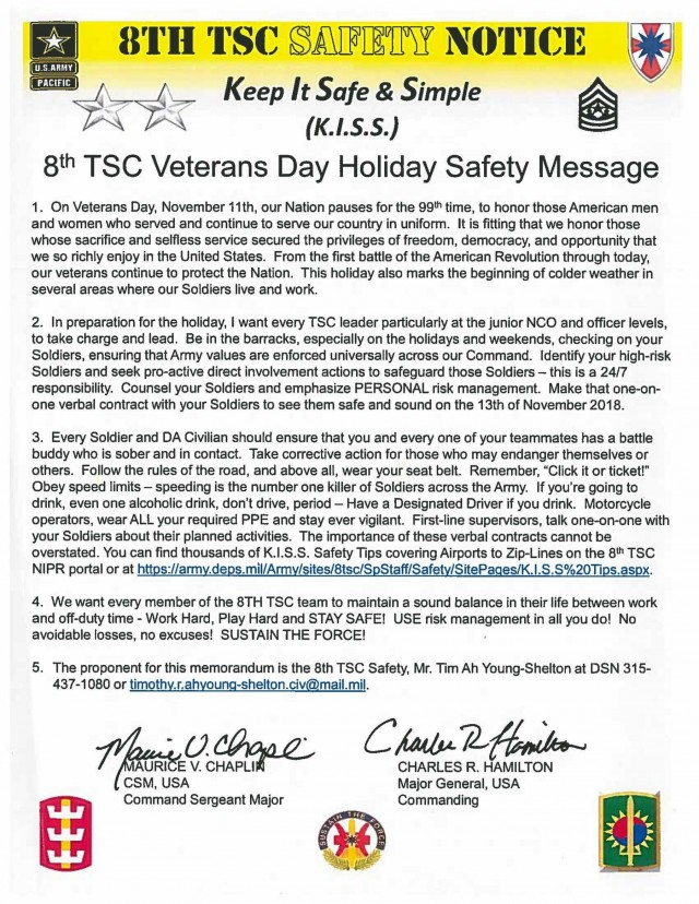 8th TSC Veteran's Day Holiday Safety Message