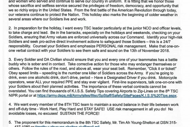 8th TSC Veteran's Day Holiday Message