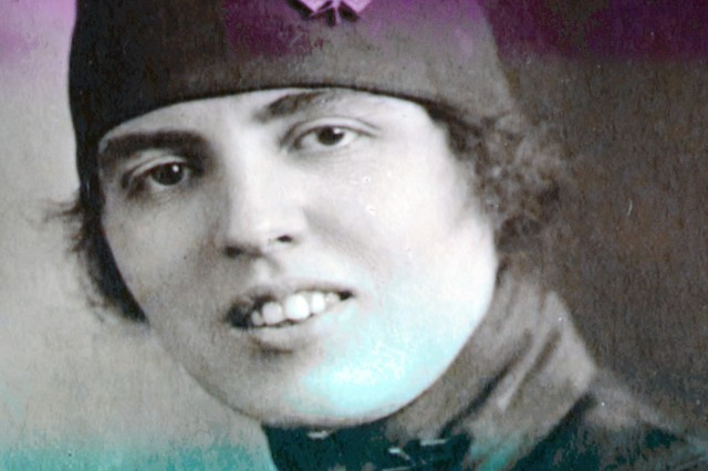 "Merle Egan Anderson, circa 1918, while serving as a mobile telephone operator for the U.S. Army Signal Corps in France, is shown on screen here in the the documentary film, ""The Hello Girls: The Army's Special Weapon in World War I."" Anderson petitioned Congress for 60 years to be recognized as a U.S. Army veteran and was eventually issued discharge papers in 1978."