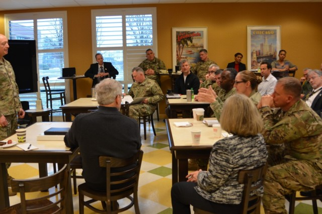 Transatlantic Division brought together its District and Task Force Commanders and leaders for a strategic planning session to examine workload projections, discuss customer requirements, and develop metrics. Here, Maj. Gen. Anthony C. Funkhouser, USACE Deputy Commanding General for Military and International Operations, addresses participants.