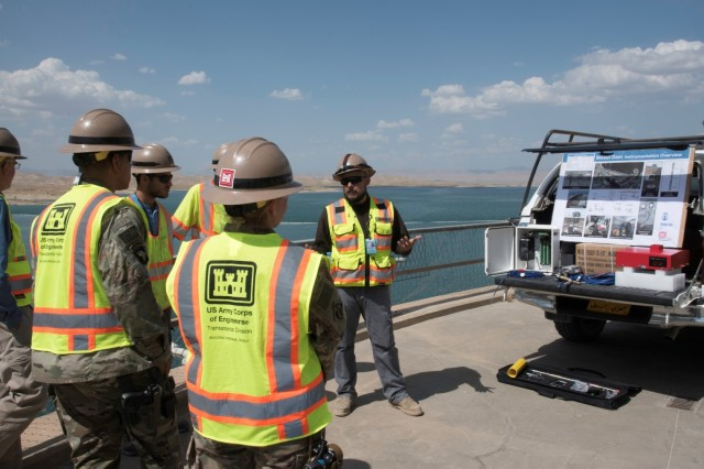 The Transatlantic Division works throughout the U.S. Central Command area of operations. Here, TAD leaders are briefed by the Mosul Dam Task Force about progress on the grouting contract awarded by the Government of Iraq to stabilize the dam. (Photo courtesy of Task Force Praesidium, Italy)