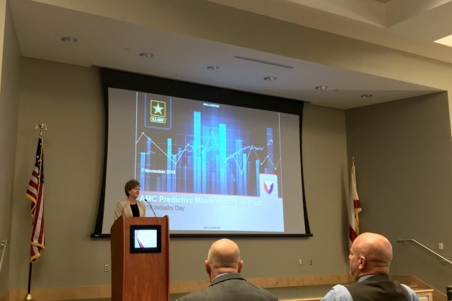 Lisha Adams, Army Materiel Command executive deputy to the commanding general, addresses industry partners on ways AMC plans to move forward with predictive, analytical capabilities for Army platforms during Predictive Maintenance Industry Day at the Jackson Center in Huntsville, Ala., Nov. 7.