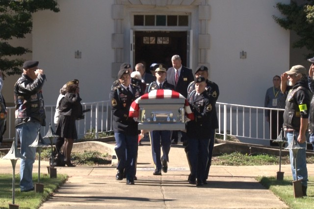FORT BENNING, Ga. (Nov. 9, 2018) -- An American Soldier whose remains could not be matched with a name for nearly seven decades after his death in the Korean War, was borne to his grave here with meticulous dignity Nov. 3 by white-gloved Soldiers of the same regiment he'd served with at his death in 1950. Sgt. 1st Class James Silas Streetman Jr. was killed in action July 1950 at age 20 while serving with Company B, 1st Battalion, 19th Infantry Regiment, then part of the 24th Infantry Division. (U.S. Army photo by Shantika Ogletree, Maneuver Center of Excellence, Fort Benning Public Affairs)