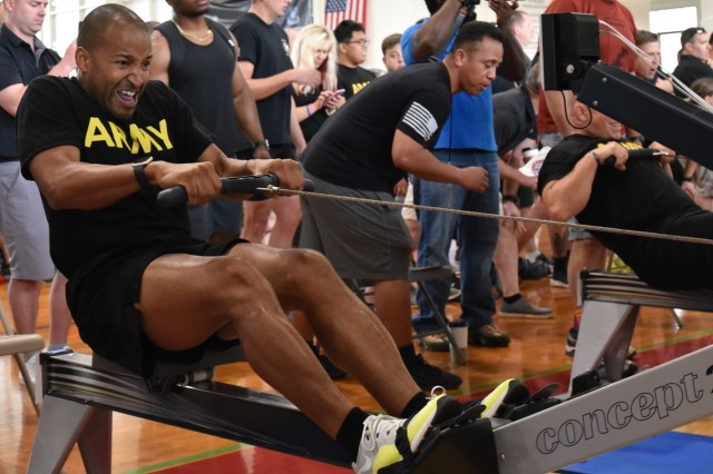 SCHOFIELD BARRACKS, Hawaii - Pfc. Raymond Piper, assigned to the Fort Drum Warrior Transition Battalion, competes in the 2018 Pacific Regional Trials rowing finals, Nov. 9, at the Family Gym. Indoor rowing is a new adaptive reconditioning activity at this year's Trials that offers both strength training and cardiovascular benefits for all body types and fitness levels. About 100 wounded, ill, or injured active duty Soldiers and Veterans participate in a series of adaptive sporting events at Schofield Barracks, Hawaii, Nov. 6-16, hosted by the Tripler Army Medical Center's Warrior Transition Battalion and Regional Health Command - Pacific.