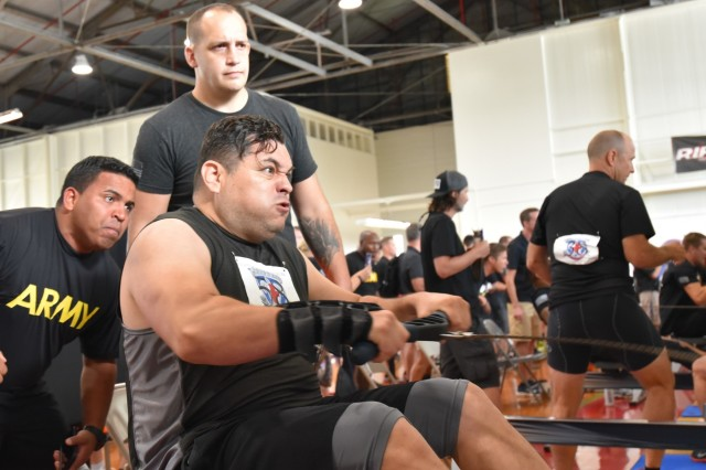 SCHOFIELD BARRACKS, Hawaii - Staff Sgt. David Trinidad, assigned to the Fort Steward Warrior Transition Battalion competes in the 2018 Pacific Regional Trials rowing finals, Nov. 9, at the Family Gym. Indoor rowing is a new adaptive reconditioning activity at this year's Trials that offers both strength training and cardiovascular benefits for all body types and fitness levels. About 100 wounded, ill, or injured active duty Soldiers and Veterans from the U.S. Army Regional Health Commands in the Pacific, Atlantic, and Central regions participate in a series of adaptive sporting events at Schofield Barracks, Hawaii, Nov. 6-16, hosted by the Tripler Army Medical Center's Warrior Transition Battalion and Regional Health Command - Pacific.