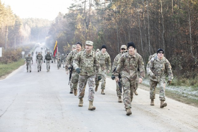 Members of the 278th Armored Cavalry Regiment from Tennessee participate in Veterans Day Ruck March at the International Peacekeeping ands Security Center, Ukraine, Nov. 11.