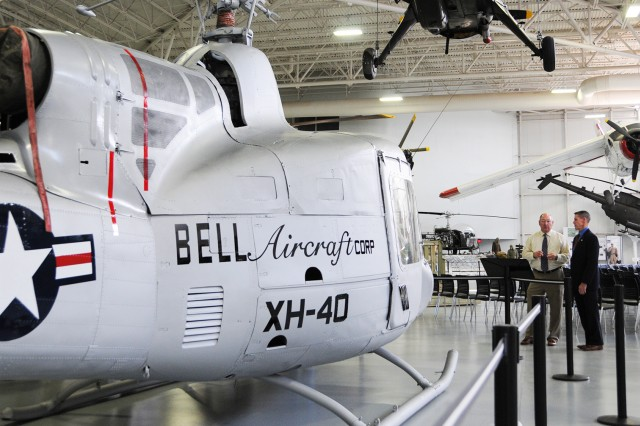 The first XH-40 prototype helicopter sits at its home at the U.S. Army Aviation Museum.