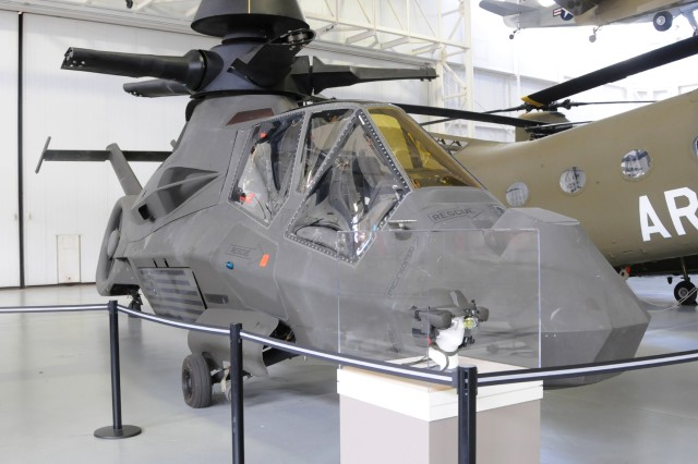 The Boeing-Sikorsky RAH-66 Comanche sits on display for people to see at the U.S. Army Aviation Museum. The helicopter is one of only two remaining Comanches.