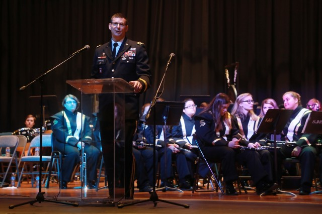 Maj. Gen. Jeff Drushal, commander of the Security Assistance Command, delivers keynote remarks during the Veterans Day ceremony Monday at the Collins Intermediate School Auditorium in Scottsboro. This year marks the 100th anniversary of the end of World War I in Europe.