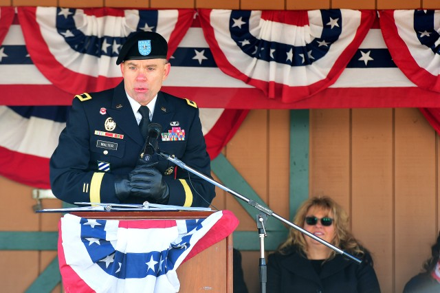 Brig. Gen. Aaron Walter, commanding general of 100th Training Division, delivers remarks at a Veterans Day ceremony after the parade Nov. 10, 2018.