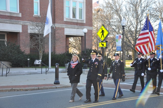 Brig. Gen. Vincent Malone, senior commander, Natick Soldier Systems Center, participates in a parade honoring veterans Nov. 11 in Natick, Mass.