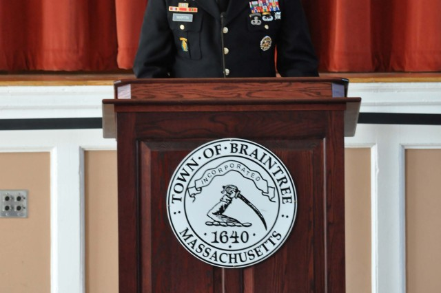 Lt. Col. Bryan Martin, garrison commander, U.S. Army Garrison (USAG) Natick, speaks at a Veterans Day observance at Braintree Town Hall in Braintree, Mass. Nov. 11.