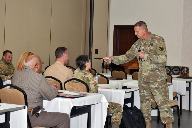 Major General Scottie D. Carpenter, Deputy Commanding General of the Army Reserve, speaks at the Long-Term Priority Setting Session, part of Integrated Strategic and Sustainability Planning, at Fort Buchanan, Puerto Rico. Photo by Rosie Irizarry/Fort Buchanan PAO.