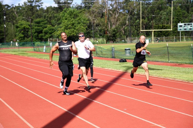U.S. Army Staff Sgt. Samuel Daniels, a New Jersey native assigned to the 3rd Brigade, 25th Infantry Division, ran the standing 200 meter race during in the 2018 Pacific Regional Trials track and field finals hosted by the Tripler Army Medical Center's Warrior Transition Battalion (WTB) with more than 100 participants, Nov. 12, at Schofield Barracks, Hawaii.