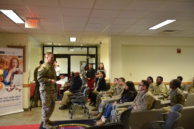 Col. Scott Mueller, USAG Humphreys garrison commander speaks encouraging words to American Education Week participants at the Humphreys Education Center, Nov. 13.