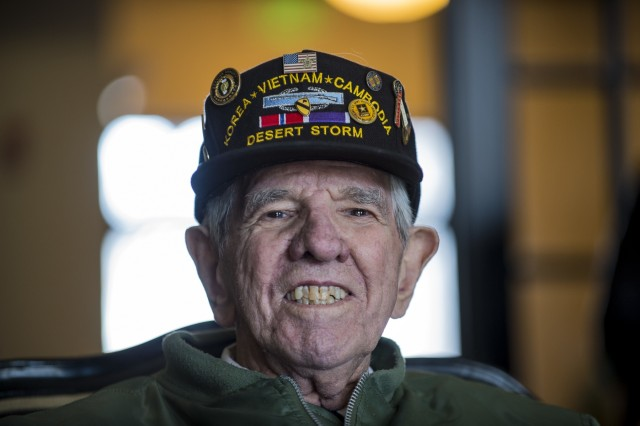 """Sgt. Maj. (Ret.) Raymond Moran, affectionately known as the """"Old Soldier,"""" poses for a portrait on Fort Meade, Maryland, March 9, 2018. Moran devoted 65 years of service as an enlisted Soldier and as a Department of the Army civilian in the U.S. Army and Army Reserve. He served in Korea, Vietnam, Japan, Cambodia and during Desert Storm."""