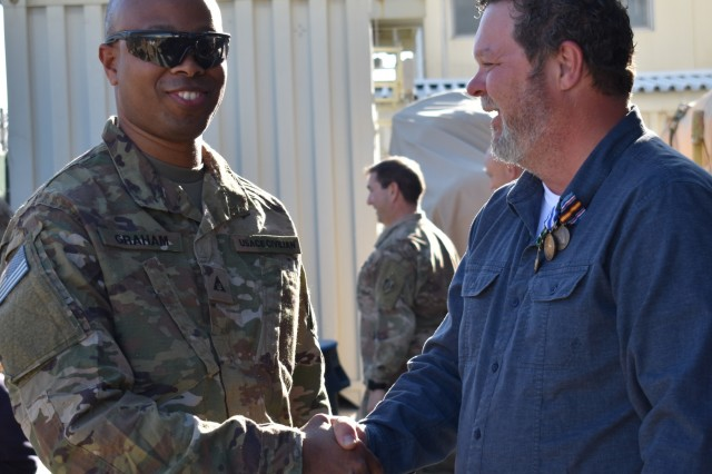 "Transitions are just the way of life at the USACE Afghanistan District as is the case with a quick handshake as one is departing and one is arriving. This for sure is a ""How we say hello, how we say Good bye"" District priority and moment."