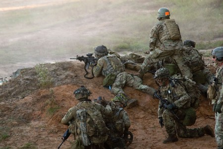 Soldiers from 1st Battalion, 151st Infantry Regiment, complete their live-fire training exercise at Joint Readiness Training Center in Fort Polk, La. This training requires soldiers to be able to move and maneuver as a team using live-fire rounds. The JRTC has an incredibly life like simulation area of operation for troops to get the best training possible.