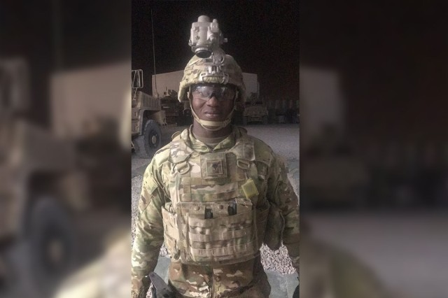 Spc. Mohamed Sullaiman, an infantryman, from 1st Battalion, 38th Infantry Regiment, 1st Stryker Brigade Combat Team, 4th Infantry Division returns from conducting combat operations in Kabul Province, Afghanistan.