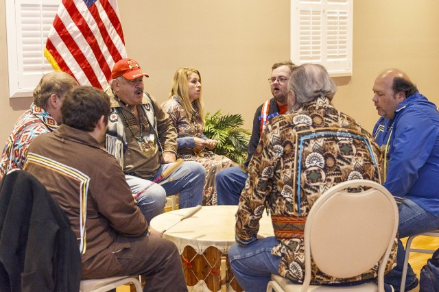 A drum circle of members from the United Cherokee Ani-Yun-Wiya Nation played songs for those gathered for the American Indian Heritage Month Luncheon Nov. 13.