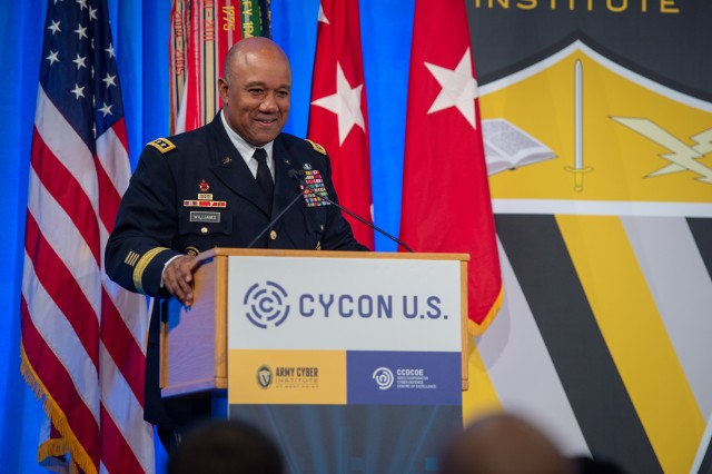 Lt. Gen. Darryl A. Williams, superintendent of the U.S. Military Academy at West Point, New York, speaks during the International Cyber Conference on Cyber Conflict U.S., or CyCon U.S, Nov. 15, 2018. For the past three years, CyCon has provided opportunities to communities of interest to gather and discuss the critical topics surrounding cyber conflict.