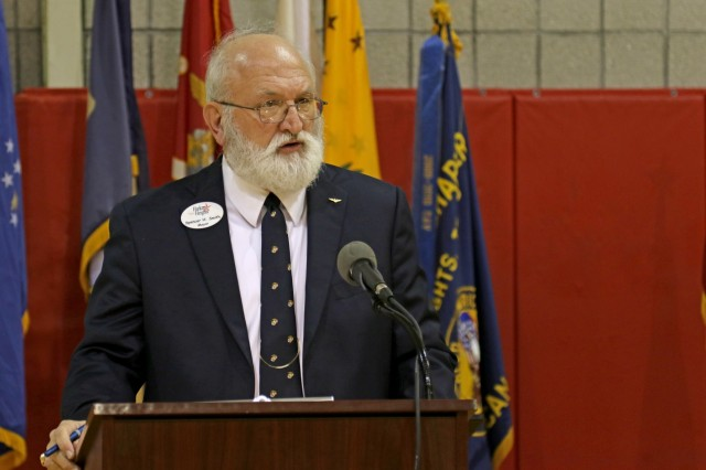 Spencer Smith, mayor of the City of Harker Heights, speaks at the Harker Heights Veterans Ceremony Nov. 8, 2018, Harker Heights, Texas.
