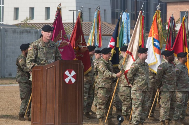 Command Sgt. Maj. Jason Schmidt, the incoming senior enlisted advisor for Eighth Army, addresses assembled guests during a change of responsibility ceremony at the Eighth Army headquarters on Camp Humphreys, Nov. 15. The ceremony recognized the passing of responsibility from Command Sgt. Maj. Richard Merritt, the outgoing senior enlisted advisor for Eighth Army to Schmidt.