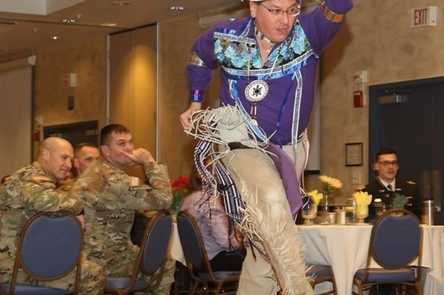 The Fort Drum community gather at the Commons on Nov. 14 to celebrate National Native American Heritage Month with guest speaker Perry Ground, Turtle Clan member of the Onondaga Nation of the Haudenosaunee Confederacy. (U.S. Army photos by Pfc. Tiffany Mitchell)
