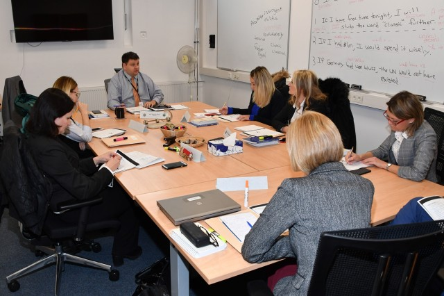 GARMISCH-PARTENKIRCHEN, Germany (Oct. 29, 2018) - Diplomats from the Republic of Albania, Republic of Georgia, Republic of Kosovo and Ukraine complete tasks which further their competence in English along different dimensions during the Partner Language Training Center Europe's Language for Diplomacy course at the George C. Marshall European Center for Security Studies Oct. 29. (DOD photo by Karl-Heinz Wedhorn/RELEASED)