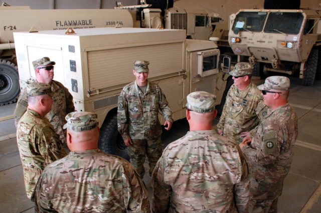U.S. Army National Guard Col. Charles Hausman, 35th Combat Aviation Brigade commander, center, speaks with Soldiers from Headquarters and Support Company, 935th Aviation Support Battalion, at Camp Buehring, Kuwait, Oct. 6, 2018.  Hausman was visiting Soldiers of the 935th ASB during their deployment in support of Operations Inherent Resolve and Spartan Shield.  (U.S. Army National Guard photo by Sgt. Billie Thompson)
