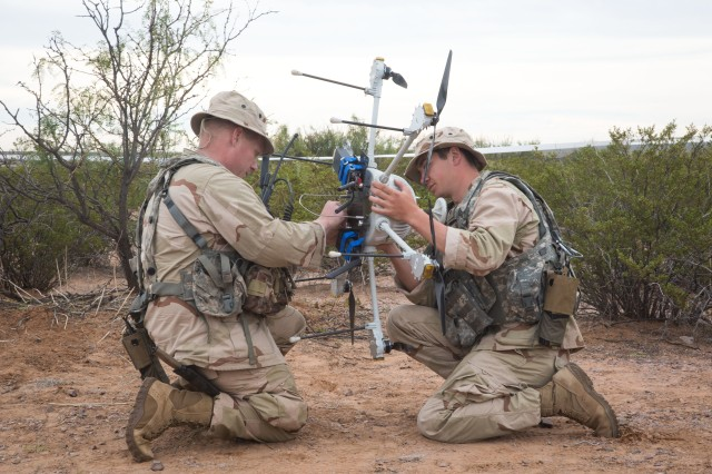 Paratroopers with the 3rd Brigade Combat Team, 82nd Airborne Division operate a tethered drone during the Network Integration Exercise 18.2 in El Paso, Texas, Oct. 30, 2018.  Paratroopers from the brigade role-played as an opposing force during NIE, a large-scale evaluation of what may become the Army's next generation of Mission Command technology.