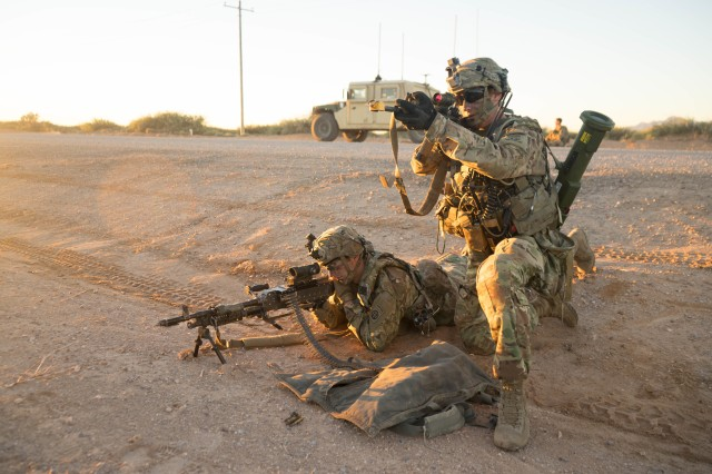 Paratroopers from the 3rd Brigade Combat Team, 82nd Airborne Division conduct a security check, Nov. 2, 2018, during Network Integration Exercise 18.2 at El Paso, Texas.  Paratroopers from the brigade conducted NIE as a large-scale evaluation of what may become the Army's next generation of Mission Command technology.