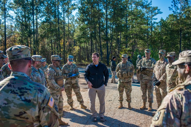 Secretary of the Army Dr. Mark T. Esper visits Fort Benning Nov. 15. While touring Fort Benning, Esper met with the Soldiers in the transformed One Station Unit Training, took part in the forthcoming Army Combat Fitness Test (ACFT) with Maneuver Captains Career Course Soldiers, and more.