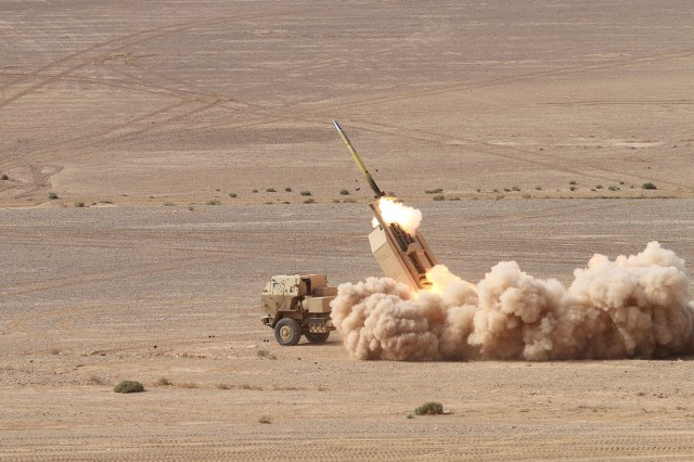 A High Mobility Rocket Artillery System fires an M31 Guided Multiple Launch Rocket System during exercise Black Oryx, in Amman, Jordan, Oct. 24, 2018. Black Oryx is an annual bilateral exercise, is designed to strengthen relationships and military capabilities between the U.S. and Jordan Armed Forces.