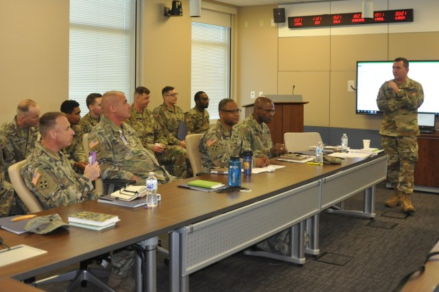 Chaplain (Col.) Darin Nielson, command chaplain for the Communications-Electronics Command, teaches a class on marital and family relationships during the Command Chaplain's Annual Training at Army Materiel Command headquarters.