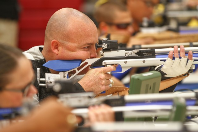 U.S. Army Staff Sgt. Jeffery Keith, a Kansas native assigned to the Warrior Transition Battalion (WTB) from Fort Riley, takes aim with an air rifle during the 2018 Pacific Regional Trails shooting event hosted by the Tripler Army Medical Center's WTB, Nov. 14, Schofield Barrack, Hawaii.